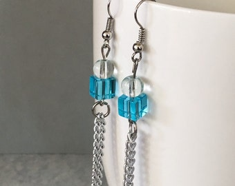 Blue dangle earrings, blue chain earrings, blue earrings, aqua dangle earrings, blue bead earrings, beaded earrings, blue drop earrings