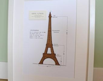 Eiffel Tower Decor, Eiffel Tower Art, Paris Wall Art, Eiffel Tower Blueprint, Laser Cut Wood, Eiffel Tower Art, French Decor, 8x10 or A4