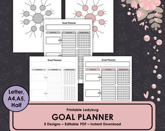 Goal Tracker, Goal Planner, Bullet Journal, Goal Setting,Goal Chart,Goal Planning,Printable Goal Tracker,Printable Journal,Printable Planner