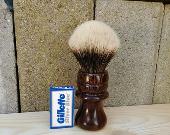 Two Band Badger Shave Brush - Black Palm with Indian Rosewood - Custom Handmade