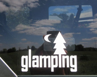 Glamping vinyl car window decal - camping car decal - glamper - campground - travel trailer - vintage trailer - camping - caravan -camp