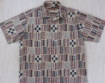 Mens Hawaiian Shirt TORI RICHARD Trippy Geometric Tiki Tribal Print Aloha Shirt Beach Wear 100% Cotton Lawn Camp -XL- Oahu Lew's Shirt Shack