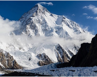 K2 Snow-capped Mountain Poster Borders Pakistan & China Raw Nature 24x36