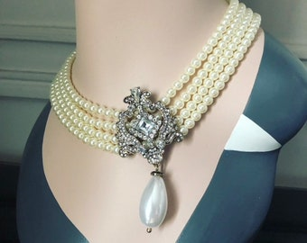 Art Deco Gatsby FAUX Pearl Necklace, 1920s roaring 20s Flapper Pearl, great gatsby wedding pearl necklace, Tiffany's Audrey Hepburn costume