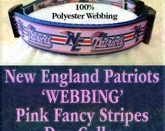 New England Patriots Polyester Webbing PINK Fancy Stripes Novelty Dog Collar