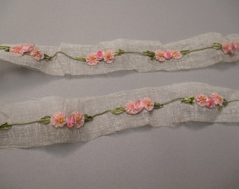 Antique victorian Silk Ribbon work ribbon Rose Rosette French France