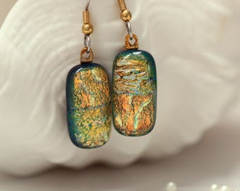 Gold Fused Glass Dangle Earrings, Dangle Drop Earrings Fused Glass, Fused Glass Earrings, Glass Earrings, Dichroic, 0139, GetGlassy