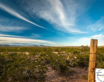 "Beautiful Sky ""West Texas Post"" Fine Art Photograph (9.5"" x 13.25"" print on 14"" x 18"" archival board) Limited Edition Signed"