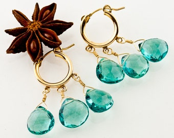 "Emerald Green Gemstone Gold Hoop Earrings – 14k Gold Filled Small Hoop ""Happening"" Earrings – Faceted Emerald Green Fluorite – Luxe Boho"
