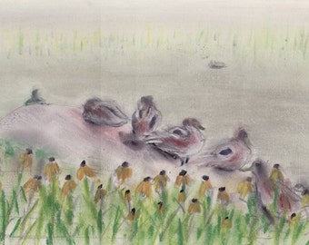 Ducks in Central Park pond - NYC - print of original pastel sketch - 8 x 10 inches - color