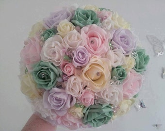 Pastel foam rose bridal bouquet