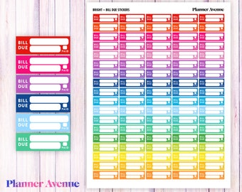 Rainbow Bill Due Printable Planner Stickers, Weekly Stickers, Colorful, Summer, Spring, Erin Condren Planner Stickers, Bright Bill Due, ECLP
