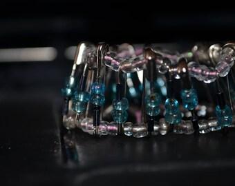 Glass beaded Safty Pin Bracelet