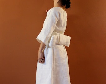 Alternative eco wedding dress made to measure listing / linen wedding dress / beach wedding / white linen dress for wedding /linen dress obi
