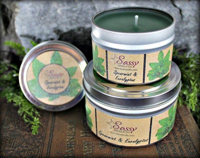 SPEARMINT & EUCALYPTUS   Candle Tin (4 or 8 oz)   Sassy Kandle Co.