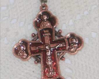Stunning Heavy Club Armed Coppertone & Red Enameled Orthodox Crucifix Pectoral Cross Pendant Necklace Matthew Mark Luke John