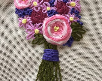 Embroidered flower bouquet, pink and purple, hand stitched, anniversary, birthday, mother's day