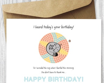 Funny Printable Birthday Card, Cat Birthday Printable Card Download, Quirky Printable Birthday Card, Greeting Cards DIY, Instant Downloads