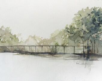 """Original Watercolor Landscape Painting - """"Bayou De View (2)"""""""