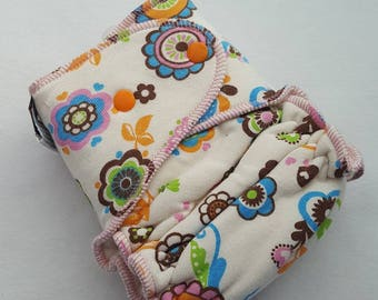 CLOTH DIAPER One Size (11-35#) Bamboo/Bamboo Velour Fitted,Mad Sky,Floral Diaper,Retro Diaper,Retro Baby,Vintage Baby,Girl Diaper,One Size