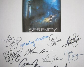 Serenity Signed Movie Film Screenplay Script X16 Nathan Fillion Summer Glau Gina Torres Ron Glass Sean Maher Adam Baldwin Joss Whedon Tudyk