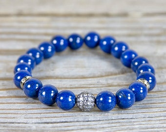 Blue stretch bracelet, Lazuli Lapis jewelry, Bohemian bracelet, layering bracelet, stacking blue, deep blue bracelet, indigo blue, blue jean