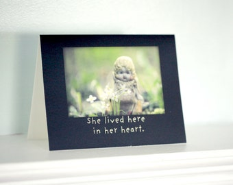 "Greeting Notecard China Porcelain Doll Card Adventures of Claudia ""She lived here in her heart"" Typographic Stationary"