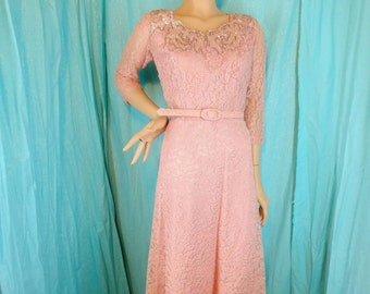 50s Pink Lace Illusion Cocktail Wiggle Dress W29