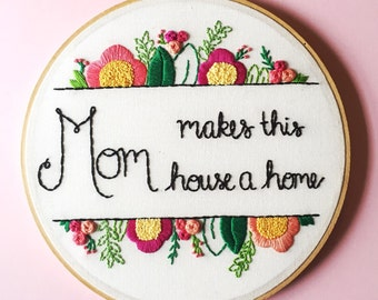 Birthday Gift for Mom. Mother's Day. Personalized Art for Mom, Hand Embroidery Art, Mom Gift, Art for Her, Floral Gift for Mom, KimArt