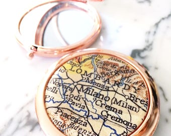 Milan Map Mirror Compact - Milano- Compact Mirror - Makeup Mirror - Purse Mirror - Hand Mirror - Bridesmaid Gift - Destination Wedding