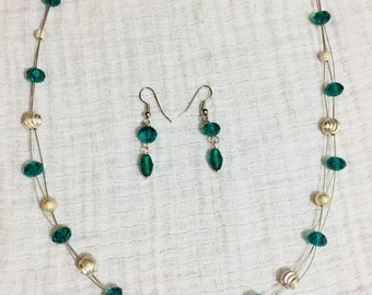 Sea Green Floating Necklace Earring Set
