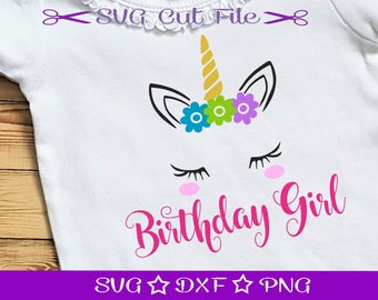 Birthday Unicorn SVG, Unicorn Face SVG, Birthday Girl SVG Cut File, Birthday SVg, Unicorn Head Svg, Girls Birthday Svg, Unicorn Horn Svg