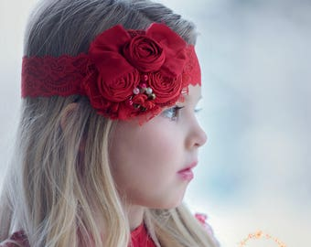 Red Headband, Baby headbands, Red flower lace Headband, Christmas headband, Valentines headband, Christmas headband, Christmas Hair Bows.