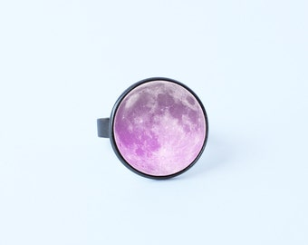 Purple moon ring Gift for girlfriend Lunar ring Adjustable Full moon ring Girls ring Moon jewelry Moon ring Lunar jewelry Moon jewellery