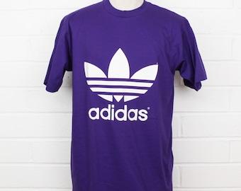 Vintage 1990s Adidas Trefoil Purple Deadstock NWT NOS Size Medium Purple T-Shirt