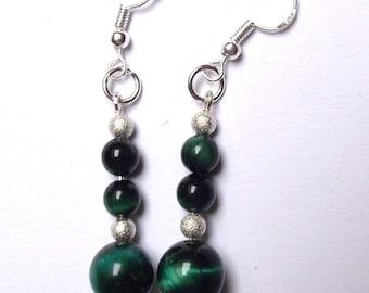 Earrings Green Tiger eye beads.