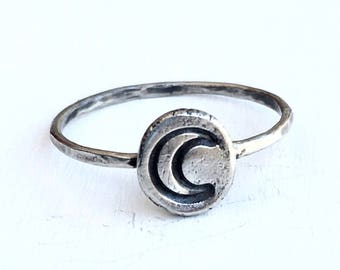 Sterling Silver Hand Stamped Moon Ring - Recycled - Ethical Silver- Rustic - Magic - Hammered Silver - Gothic - Stacking Ring