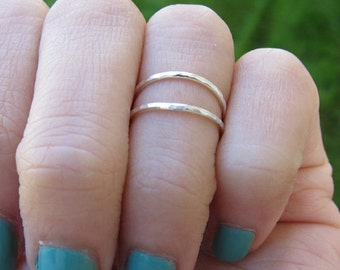 Set of 2 Sterling Silver Hammered Thin Knuckle Ring
