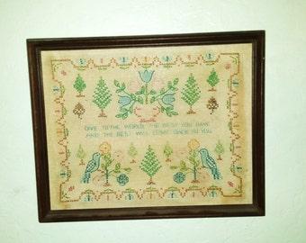 Cross Stitch, Vintage Framed Needlework, Motto, Embroidery Sampler