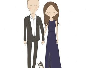 Custom Couple and Pets Illustration
