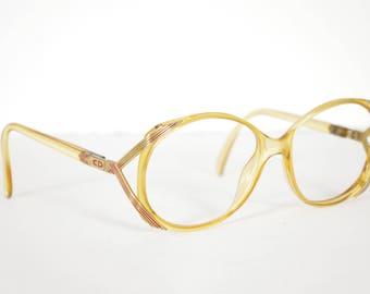Christian Dior 1970s Optyl 2428 Clear Orange Plastic & Metal Rim Eyeglasses Frames