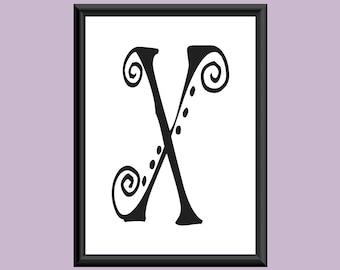 Typography Digital Print Monogram Initial Wall Art SpaGirl Letter X