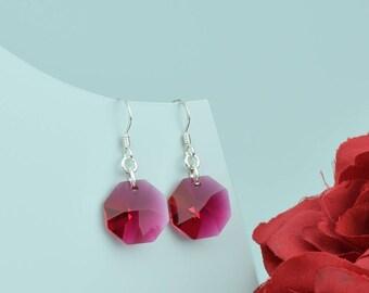 Ruby Swarovski crystal on sterling silver earwires.