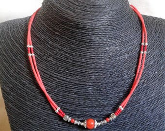 Ethnic necklace with coral - necklace - gemstone jewelry