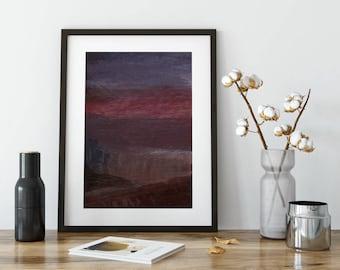 Red & Grey Abstract Minimalist Brush Stroke Art