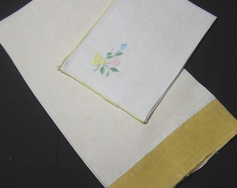 Linen Tea Towels with Appliqued & Hand Embroidered for Guest, 1950s and 1990s, Vintage Home Decor, Bathroom, Kitchen, Serving