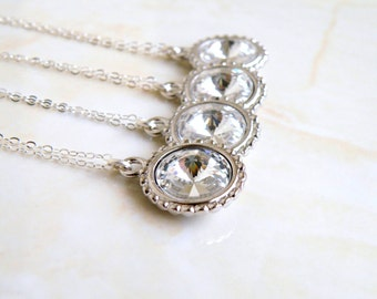 Swarovski Crystal Necklace Rivoli Pendant Sterling BN16