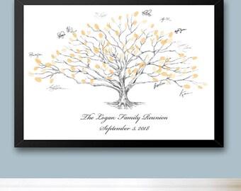 Family Reunion Low Oak Tree Thumbprint Guestbook Print, Fingerprint Guest Book, Family Reunion Memento, Alternative (8 x 10- 24 x 36)