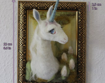 Unicorn in picture frame-needle felted wool-inspired by the film The Last Unicorn-mobile-fantasy from the Magic Forest