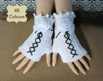 Burlesque Fingerless Wrist Gloves, White Corset Wool Gloves